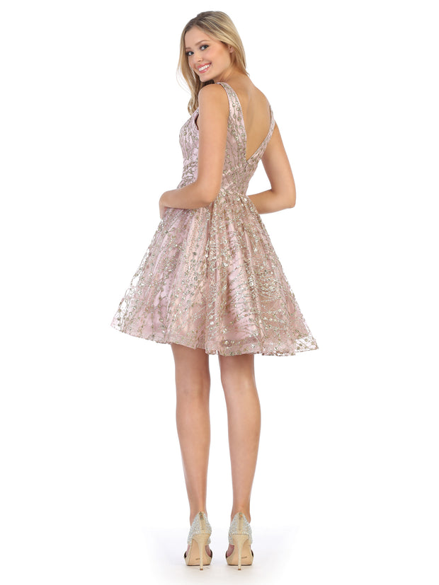 rose flowy glittery sequin dress