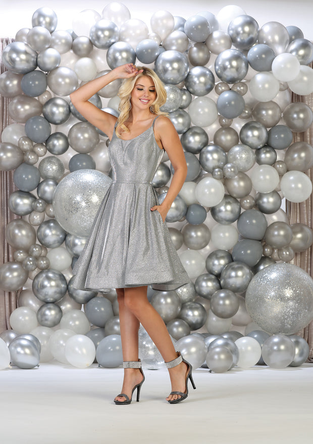 Shoulder strap short dress for Graduation and party silver