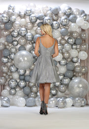 Shoulder strap short dress for Graduation and party and prom silver color