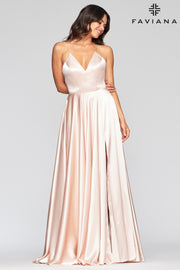 Sara's Fashion Floor-Length V-neck charmeuse Maxi with back lace-up for adjustable fit.