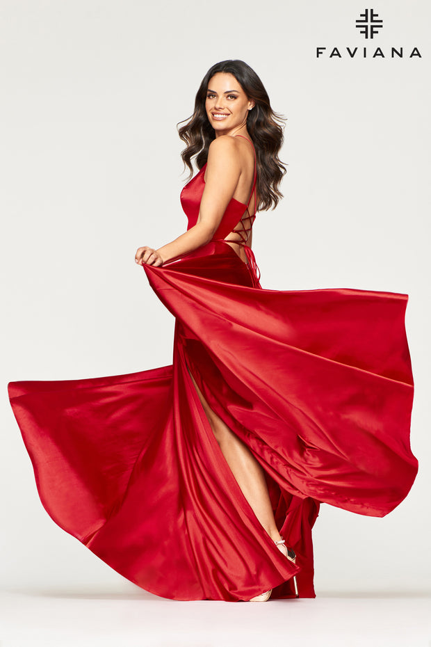 Sara's Fashion Floor-Length Red charmeuse dress for Bridesmaid, Formal and grad occasion.