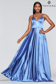 Sara's Fashion ice blue long dress for Bridesmaid, Formal and grad occasion .