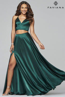 Sara's Fashion Long V-neck two-piece charmeuse dress with mock overlap bodice and back lace-up and side pockets For Bridesmaid.