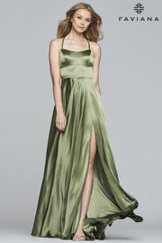 Sara's Fashion Floor-Length halter neck charmeuse dress with back lace-up In Edmonton.