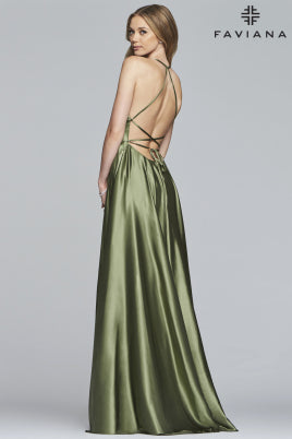 Sara's Fashion Floor-Length halter neck Side slit dress with back lace-up  In Canada.