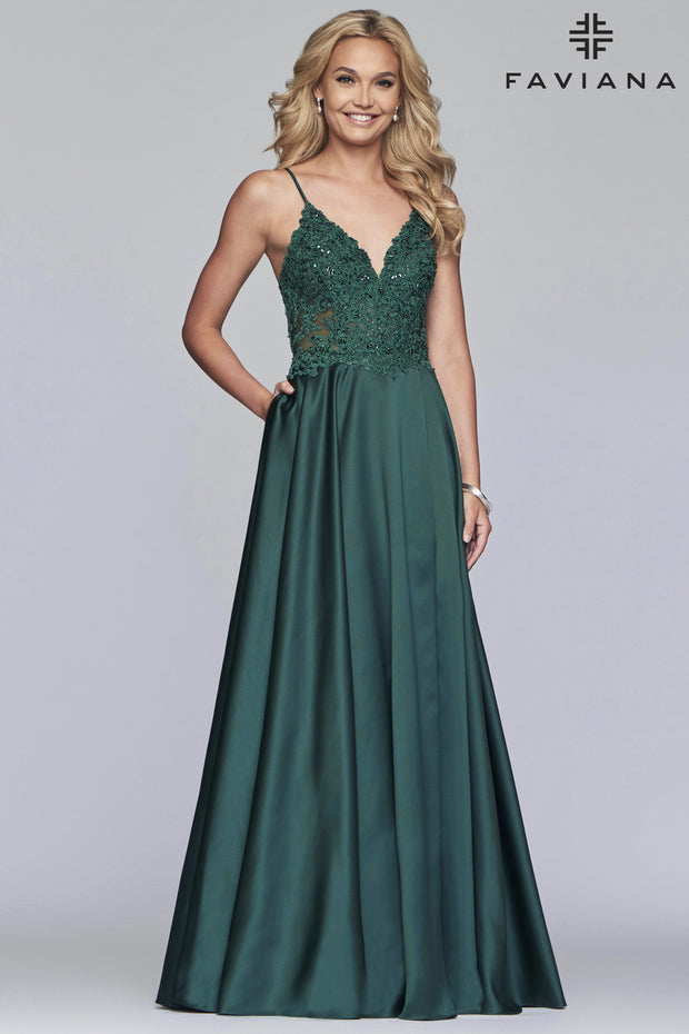 Sara's Fashion Long satin ballgown with beaded applique bodice with back lace-up and side pockets for Bridesmaid In Edmonton