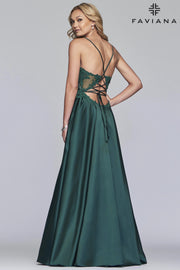 Sara's Fashion Long V-neck satin ballgown with beaded applique bodice with back lace-up In East Edmonton Mall.