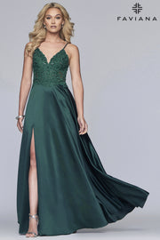 Sara's Fashion V-neck satin ballgown with beaded applique bodice with back lace-up and side pockets for Formal.