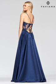 Sara's Fashion Long V-neck satin ballgown with beaded applique bodice with back lace-up and side pockets In Edmonton