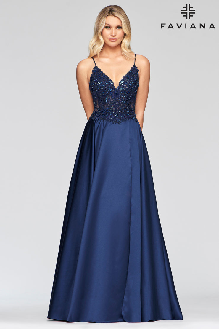 Sara's Fashion Long V-neck satin ballgown with beaded applique bodice for Prom, Grad, Formal and Bridesmaid.