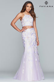 Sara's Fashion Long halter neck two-piece embroidered tulle dress with back lace-up for adjustable fit For Grad