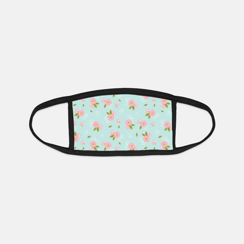 Grandma's Flowers Black Edge Face Cover