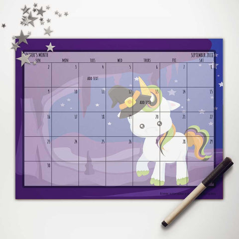 Halloween Witchy Unicorn Printable Monthly Calendar