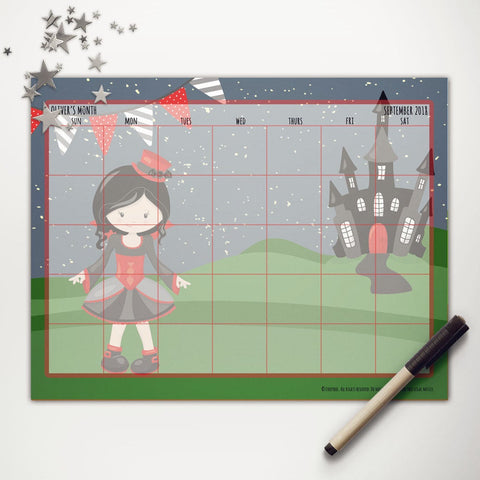 Halloween Vampire Girl Printable Monthly Calendar