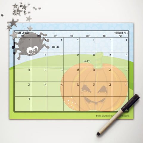 Spider Pumpkin Halloween Printable Monthly Calendar