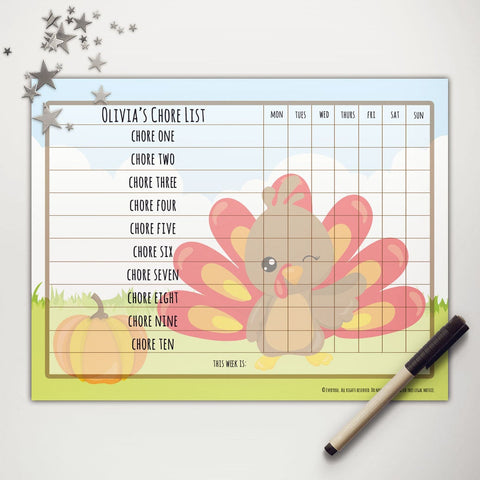 Little Turkey Printable Basic Chore Chart