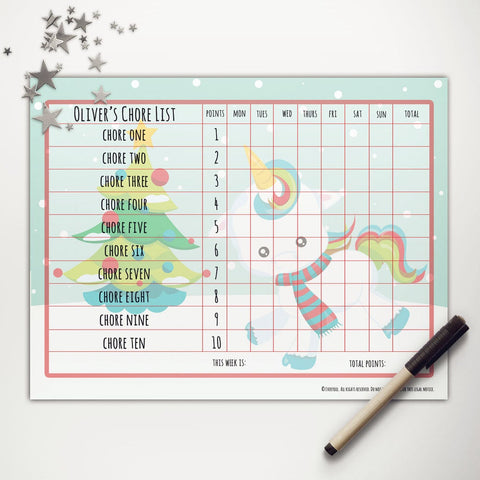 Christmas Unicorn Printable Point System Chore Chart