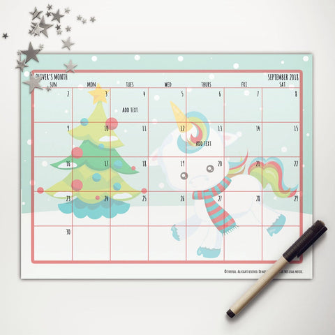 Christmas Unicorn Printable Monthly Calendar