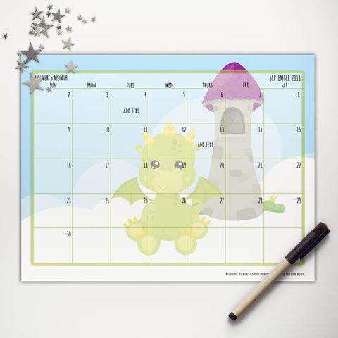 Sky Dragon Printable Monthly Calendar