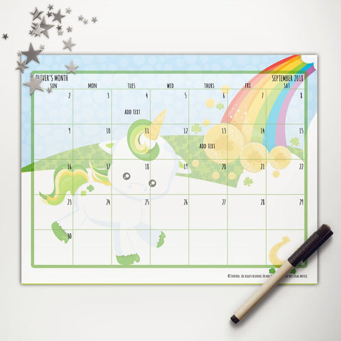St Patrick Lucky Unicorn Printable Monthly Calendar
