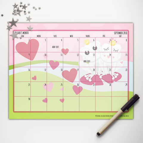 Valentine Frogs Printable Monthly Calendar