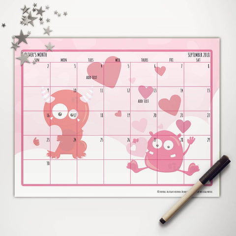 Valentine Monsters Printable Monthly Calendar