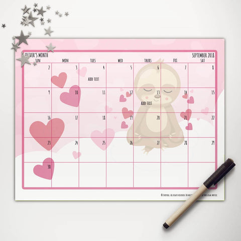 Valentine Sloth Printable Monthly Calendar
