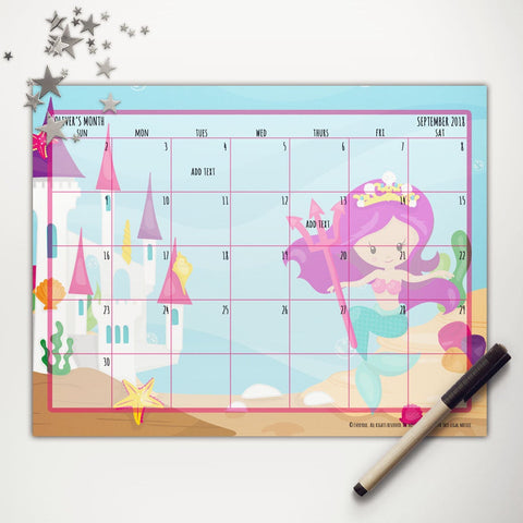 Mermaid Princess Printable Monthly Calendar