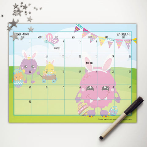 Easter Monsters Easter Printable Monthly Calendar