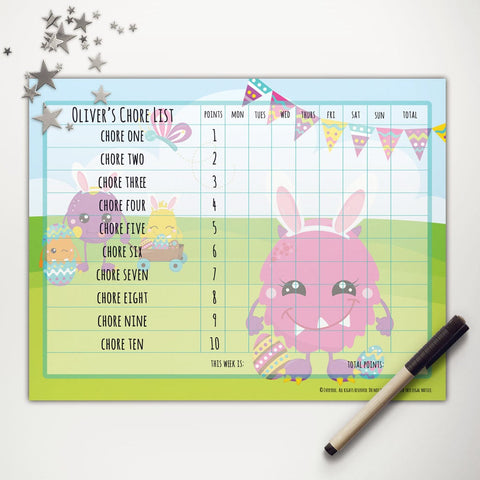 Easter Monsters Printable Point System Chore Chart