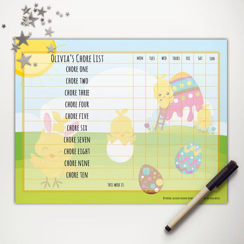 Easter Chicks Painting Printable Basic Chore Chart