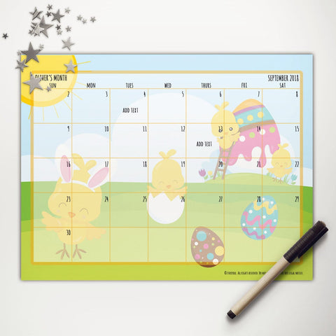 Easter Chicks Painting Easter Printable Monthly Calendar
