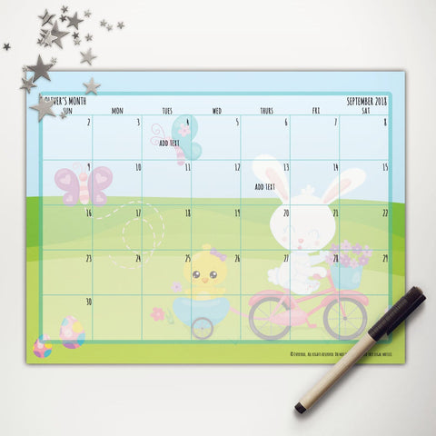 Easter Bunny Spring Ride Printable Monthly Calendar