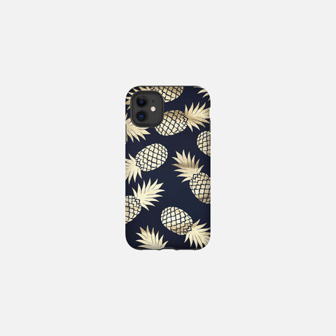 Navy + Gold Pineapple Tough Case