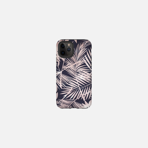 Navy + Rose Gold Tropical Leaves Tough Case