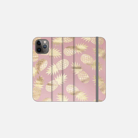 Blush + Gold Pineapple Folio Wallet Phone Case