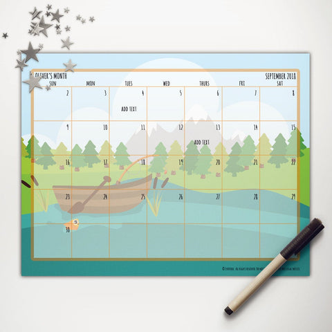 Goin' Fishin' Boat Printable Monthly Calendar