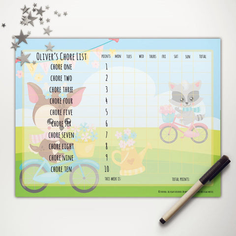 Spring Bicycle Friends Printable Point System Chore Chart