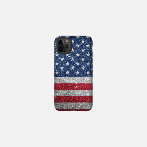 Glittered Patriotic United States Flag Tough Case