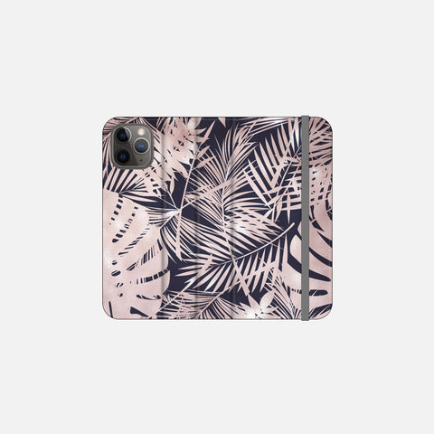 Navy + Rose Gold Tropical Leaves Folio Wallet Phone Case