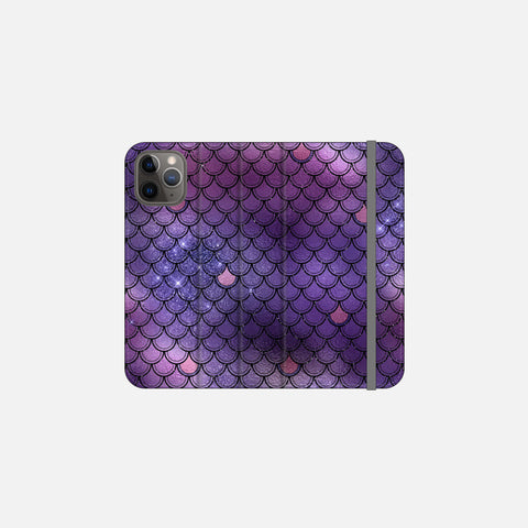 Indigo Glittered Mermaid Scales Folio Wallet Phone Case