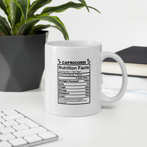 Capricorn Nutrition Facts Zodiac Nutrition Facts Vol. 1 Mug
