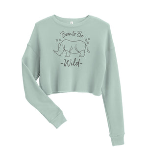 Load image into Gallery viewer, Born to Be Wild Rhino Cropped Sweatshirt