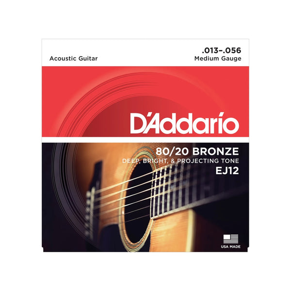 D'Addario 80/20 Bronze Wound Acoustic Guitar String Sets: EJ14 - Bluegrass 12-56