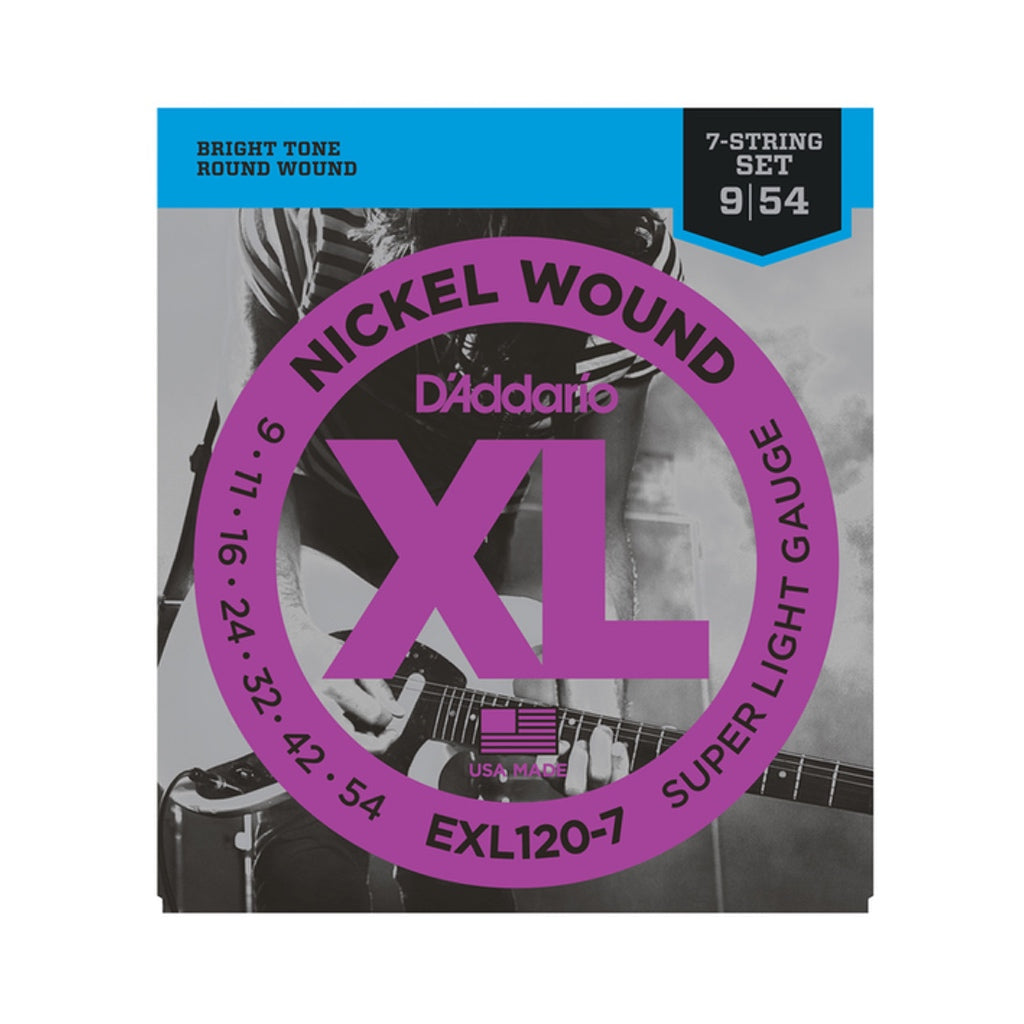 D'Addario XL Nickel Wound 7-String Electric Guitar Strings: Super Light 9-54