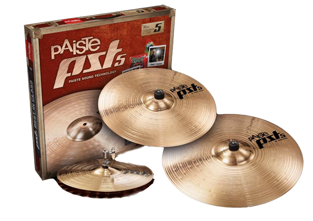 "Paiste PST5 Rock Cymbal Set: 14"" Hats, 16"" Rock Crash, 20"" Rock Ride"
