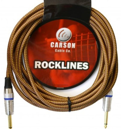Carson Braided Guitar Cable Straight Jacks: Vintage Tweed (20 Foot)