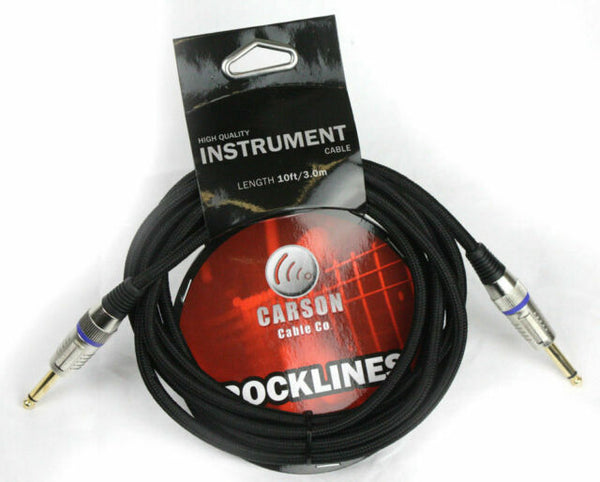 Carson Braided Guitar Cable Straight Jacks (10 Foot)
