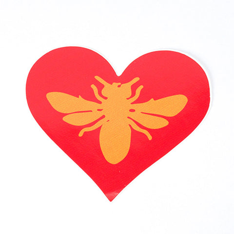 Heart with bee in the center sticker