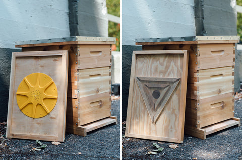 two types of bee escape boards